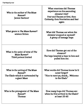 "Page Turners/Book Battles Questions ""The Maze Runner"""
