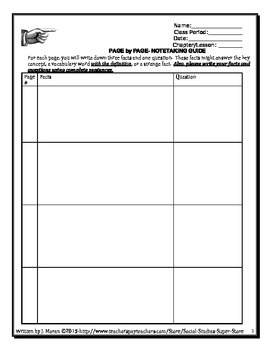page by page note taking guide for middle schoolers tpt rh teacherspayteachers com Social Studies Board Social Studies Notebook