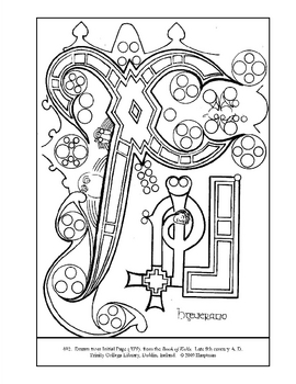 Page from the Book of Kells Coloring page and lesson plan