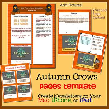 Pages - AUTUMN CROWS theme - Newsletter Template - For iPads, iPhones, & Macs