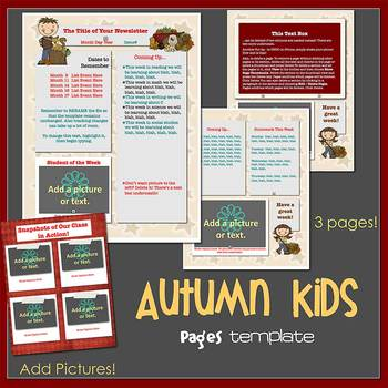 Pages - AUTUMN KIDS theme - Newsletter Template - For iPads, iPhones, & Macs
