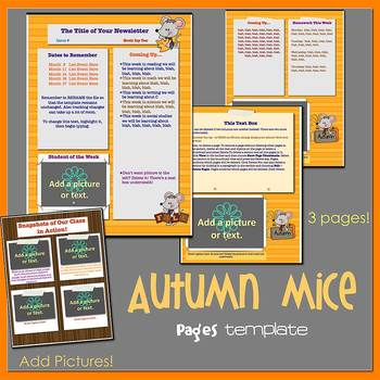 Pages - AUTUMN MICE theme - Newsletter Template - For iPads, iPhones, & Macs