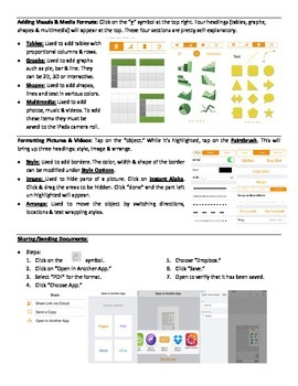 """Pages App - """"How-to"""" Sheet"""