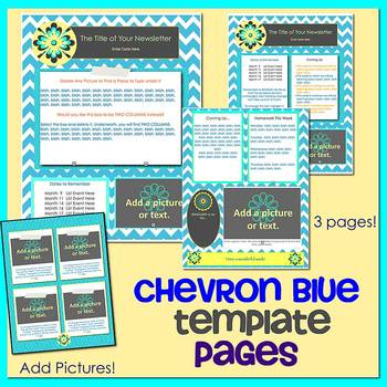 Pages - CHEVRON BLUE - Newsletter Template - Create on iPads, iPhones, & Macs