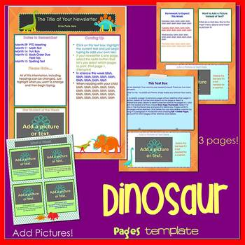 Pages - DINOSAUR theme - Newsletter Template - For iPads, iPhones, & Macs