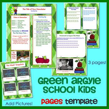 Pages - SCHOOL KIDS GREEN ARGYLE - Newsletter Template