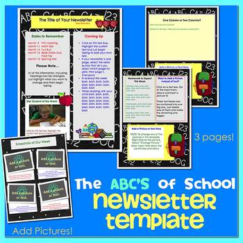 Pages - SCHOOL SUPPLIES theme - Newsletter Template - For iPads, iPhones, & Macs