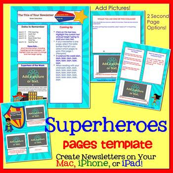Pages - SUPERHEROES - Newsletter Template - for iPads, iPhones, & Macs