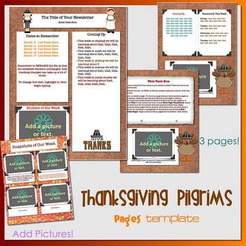 Pages - THANKSGIVING PILGRIMS - Newsletter Template - For iPads, iPhones, & Macs