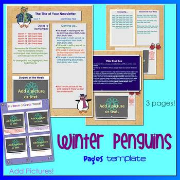 Pages - WINTER PENGUINS theme - Newsletter Template - For iPads, iPhones, & Macs