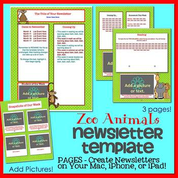 Pages - ZOO ANIMALS SAFARI - Newsletter Template - For iPads, iPhones, & Macs