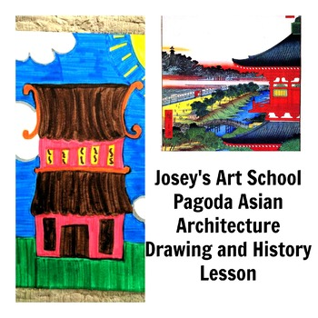 Pagoda Asian Architecture Art Drawing Lesson and ELA Literacy and Art Lesson