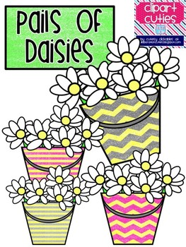 Pail of Daisies Spring Clip Art
