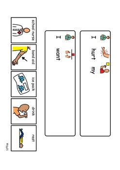 Pain/sick visual boards and communication sentence cards
