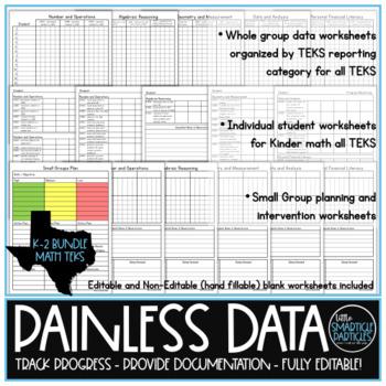Data Tracking: Kindergarten, First, & Second Grade Math TEKS Bundle