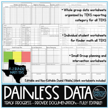Data Tracking: Kindergarten, 1st, & 2nd Grade Math TEKS Bundle