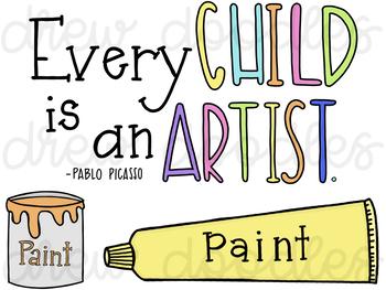 Paint Art Supplies Digital Clip Art Set