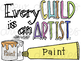 Paint Art Supplies Digital Clip Art Set- Color and Black Line COMBO