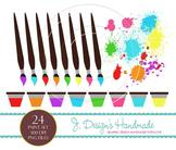 Paint Brush And Paint Digital Clipart Set