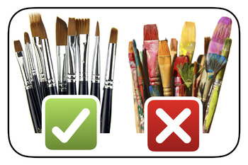 Paint Brush Clean Up Sign, Brushes Up Poster
