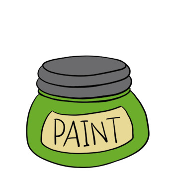 Paint Brushes, Paint Jars and Colored Splat Clipart