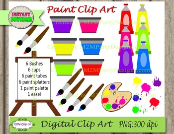 Paint Bushes Easel and Paint palette Digital Clipart  PU / CU