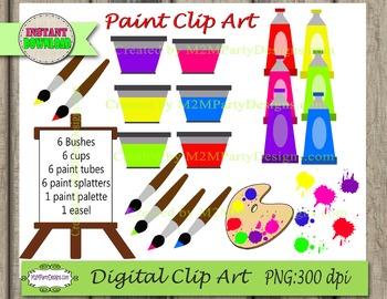 Paint Bushes Easel and Paint palette Digital Clipart  PU / CU