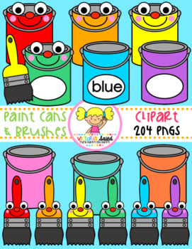 Paint Cans & Brushes Clipart