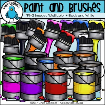 Paint Cans and Paint Brushes Clip Art - Chirp Graphics
