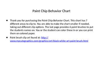 Paint Chip Behavior Chart