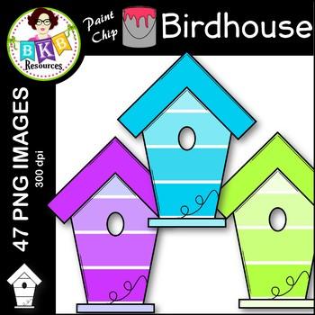 Birdhouse Clip Art ● Paint Chip Birdhouses ● Clip Art