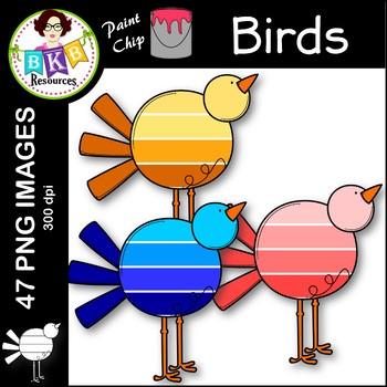 Bird Clip Art ● Paint Chip Birds ● Clip Art