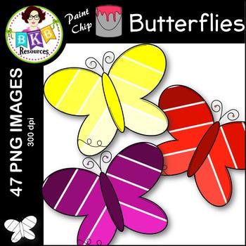 Butterfly Clip Art ● Paint Chip Butterflies ● Clip Art
