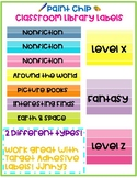 Paint Chip Classroom Library Labels EDITABLE