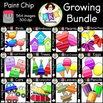 Paint Chip Clip Art ● Huge Clip Art Set ● Growing Bundle