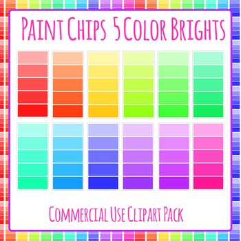 Paint Chip - Five Bright Color Clip Art Set for Commercial Use