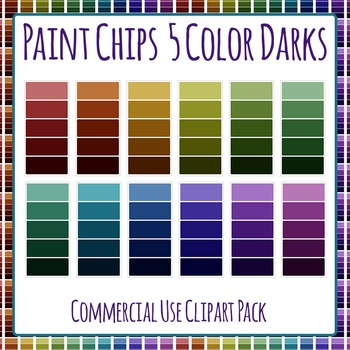 Paint Chip - Five Dark Color Clip Art Set for Commercial Use