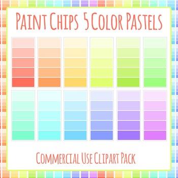 Paint Chip - Five Pastel Color Clip Art Set for Commercial Use