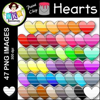Heart Clip Art ● Paint Chip Hearts ● Clip Art