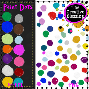 Paint Dots Background and Individual Splotch Clip Art