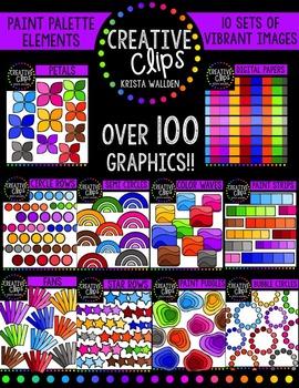 Paint Palette Elements Bundle {Creative Clips Digital Clipart}