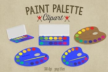 Paint Palettes Clipart, 5 Colorful Paint Palettes