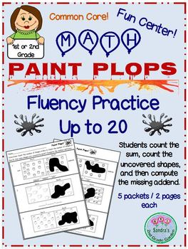 Paint Plops Fun Math Center for Fluency Practice Up to 20 / Also Early Finishers