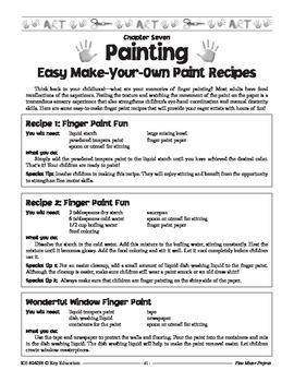 Back to School Paint Recipes Grades PK-3