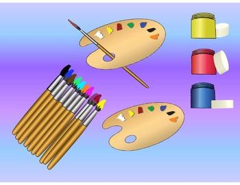 Paint Set Clip Art - brushes, pots and palette
