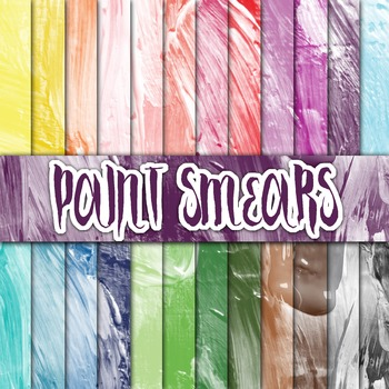 Paint Smears Textures - Digital Paper Pack - 24 Different Papers - 12 x 12