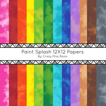 Paint Splash 12X12 Digital Papers for Personal and Commerc