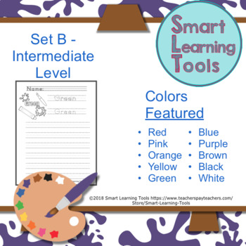 Paint Splat Color Word Handwriting Practice Sheets