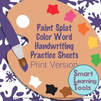 print handwriting practice color words paint splat art theme tpt