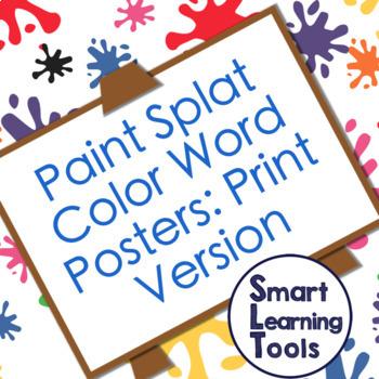 Paint Splat Color Word Poster Sets